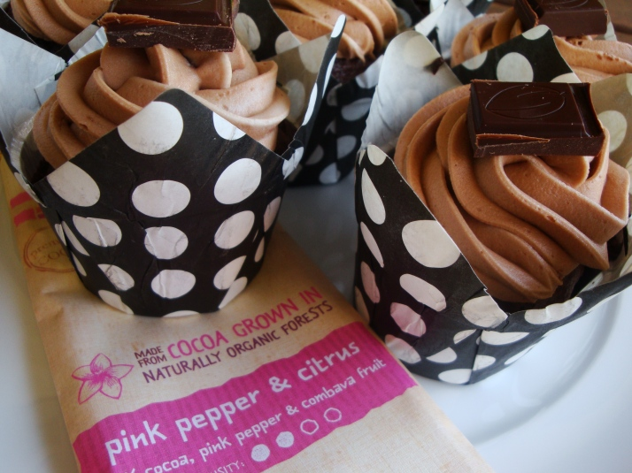 Madacasse Pink Pepper & Citrus Chocolate Cupcakes