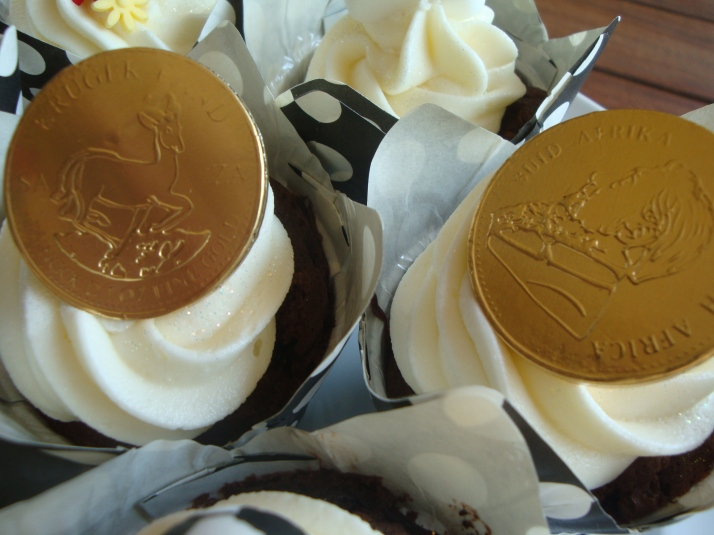 Cupcakes with South African Kruger Rands