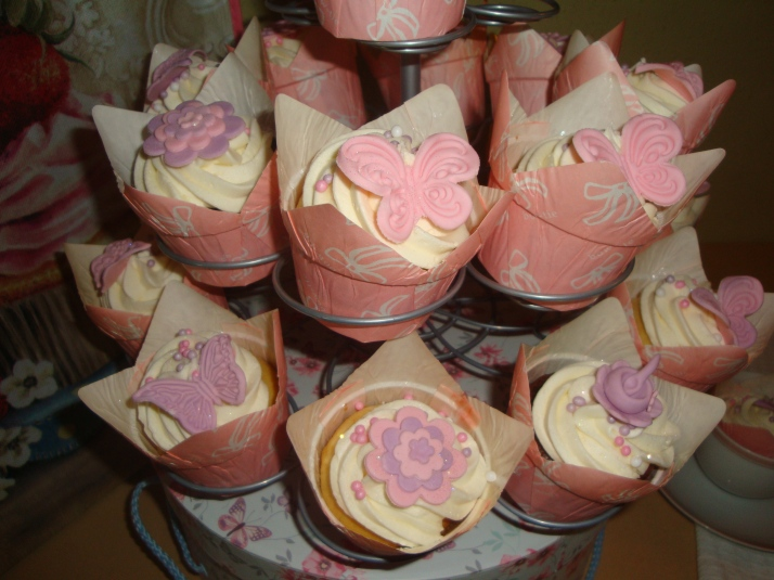 Cupcakes with Pink and Lavender butterflies and flowers