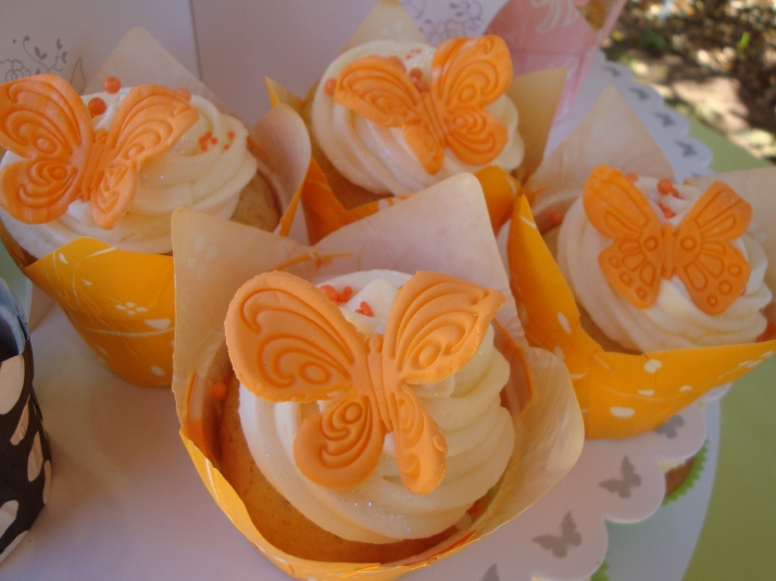 Vanilla Cupcakes with Orange Butterflies