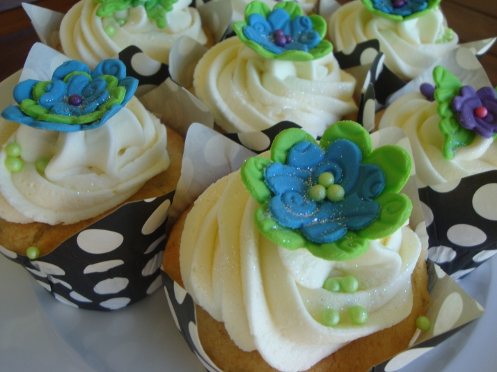Blue, Lime green, Purple Flower Cupcakes