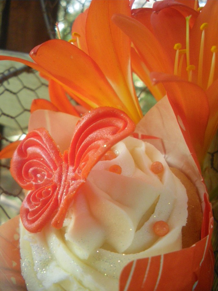 Spring Butterfly Cupcake photographed with Clivias