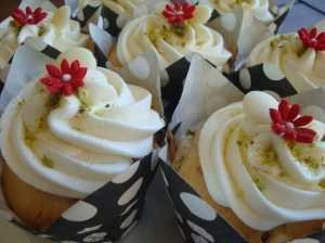 Cranberry, Pistachio, White Chocolate Cupcakes