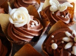 Cream & Chocolate Brown Wedding Cupcakes