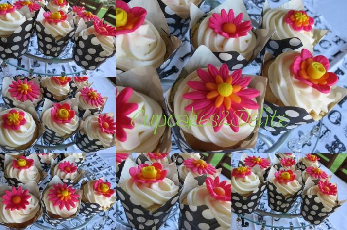 Cerise Pink Daisy Wedding Cupcakes