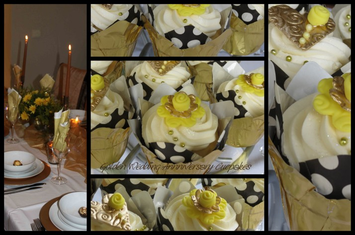 Golden Wedding Anniversary Cupcakes