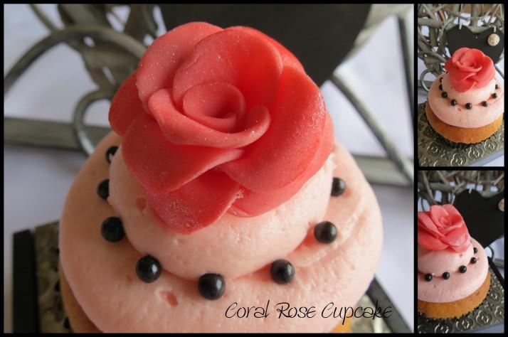 Coral and Black Cupcake
