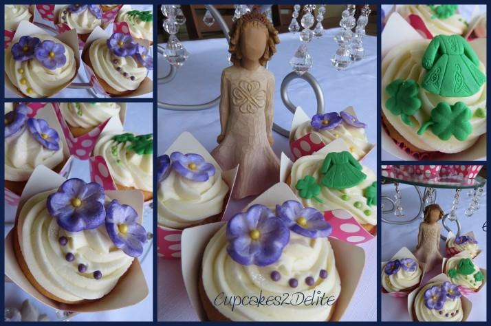 Violets & Shamrocks Cupcakes