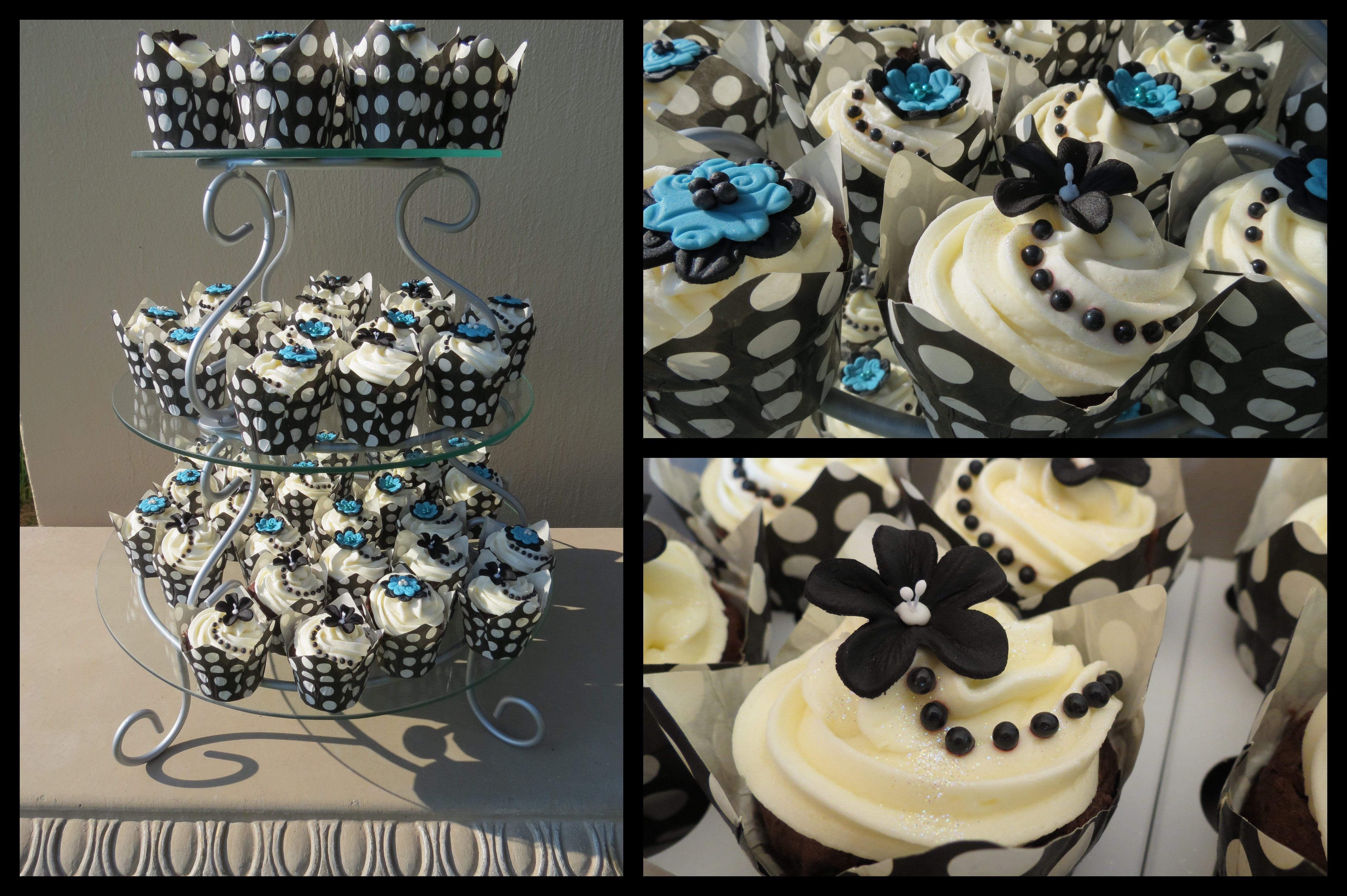 Turquoise and Black Wedding Cupcakes | cupcakes2delite