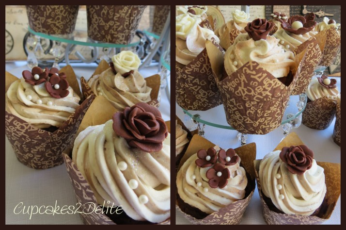 Cream & Brown Flowers Cupcakes