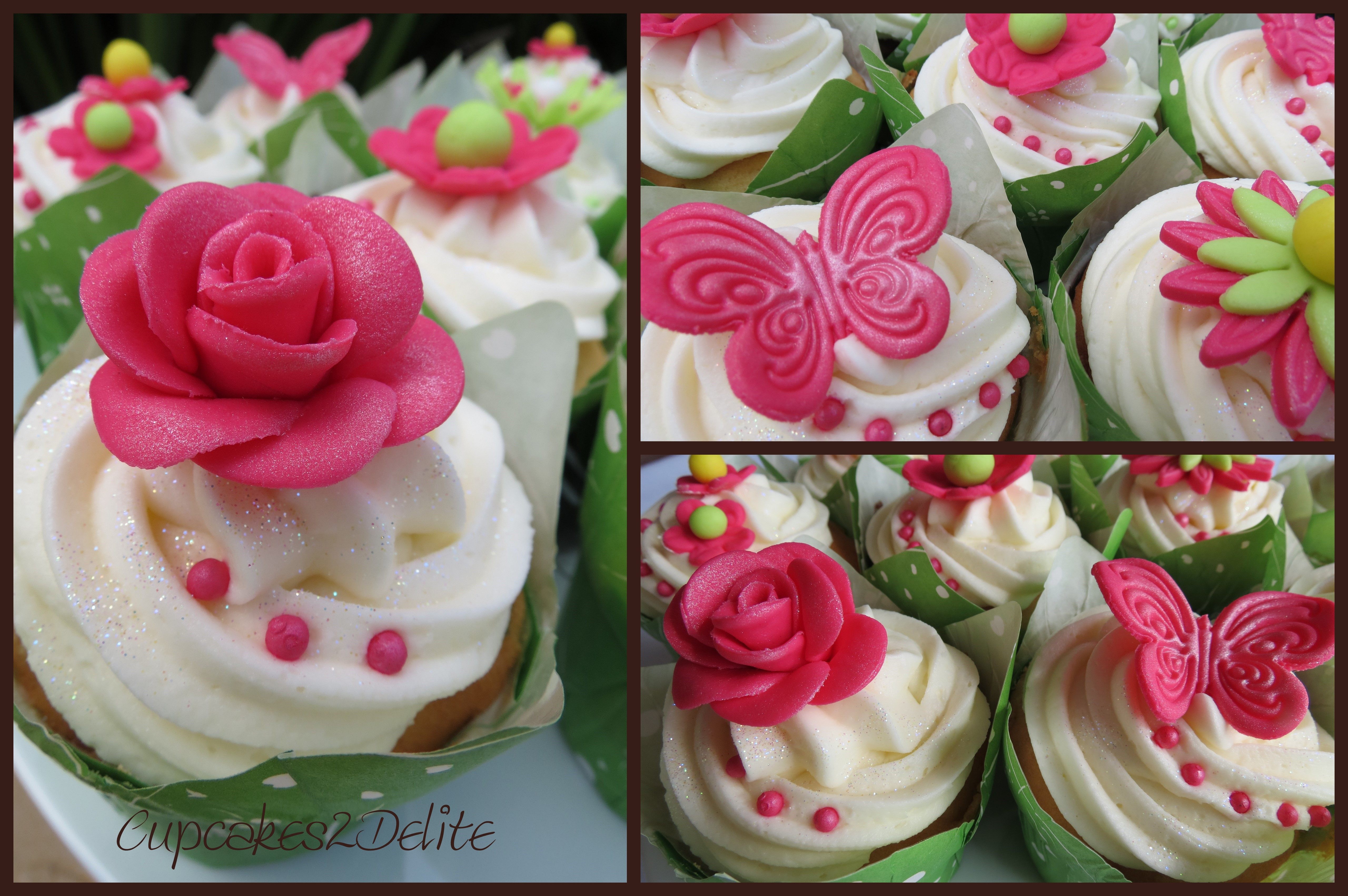 Flower And Butterfly Cupcakes Cupcakes2delite