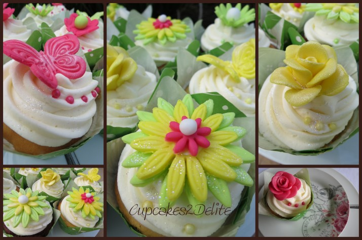 Lime Green, Pink & Yellow  Cupcakes