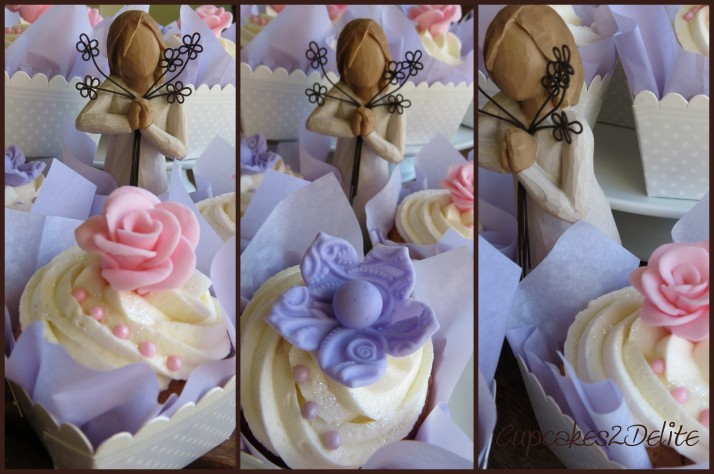 Pink Rose and Lavender Flowers Cupcakes