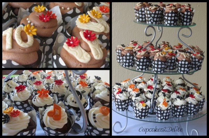 Red, orange, yellow & black flower cupcakes