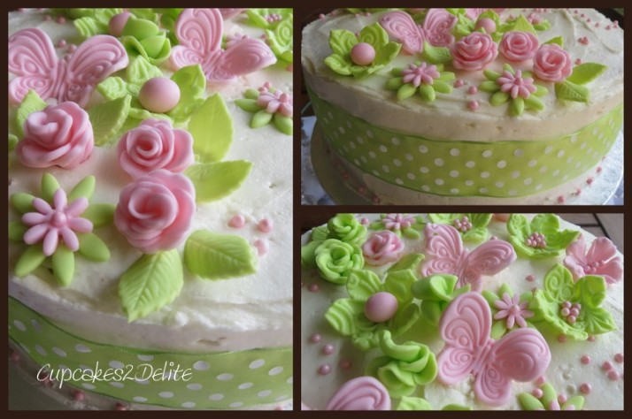 Lime Green & Pink Birthday Cake