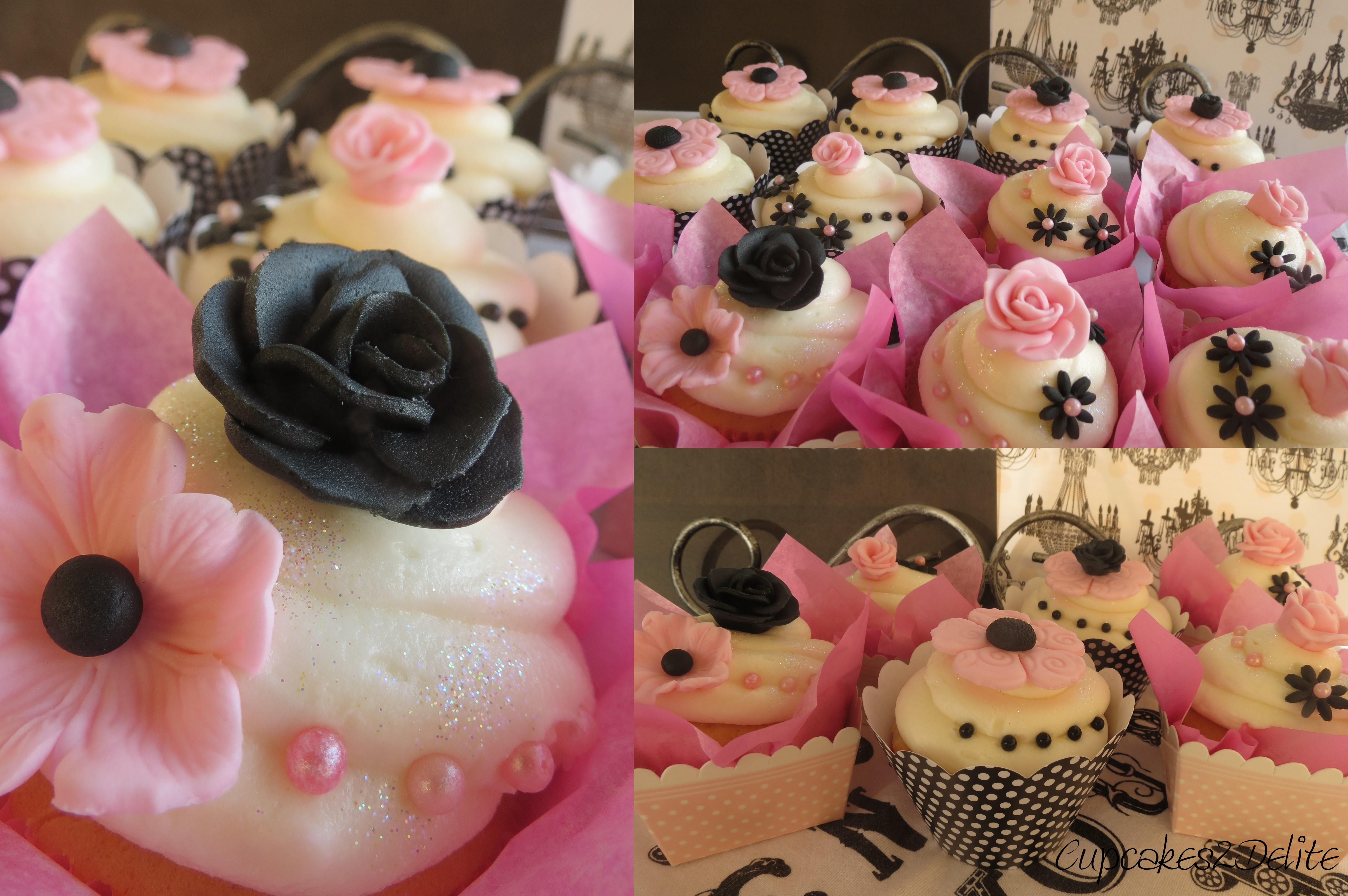 Pink Black Flower Cupcakes Cupcakes2delite