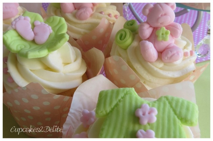 Pink & Lime Green Baby Shower Cupcakes