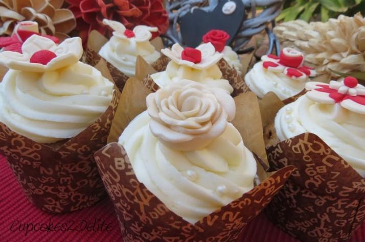 Cream & Red Cupcakes