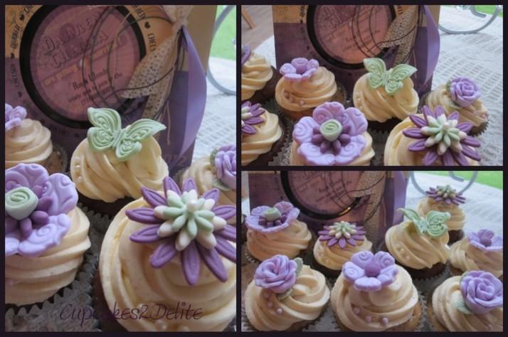 Lavender, Cream & Plum Wedding Cupcakes