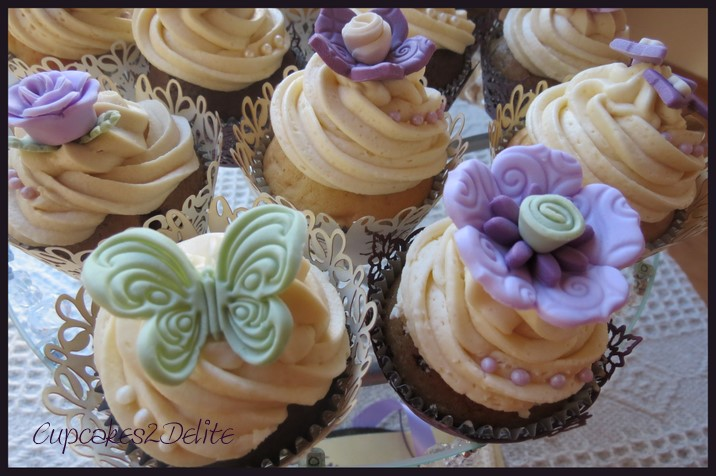 Lavender, Cream & Plum Wedding Cupcakes