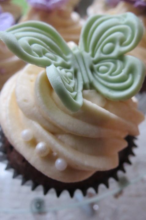 Moss Green Butterfly Cupcake