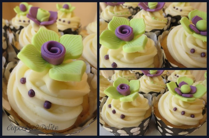 Lime Green & Purple Flower Cupcakes