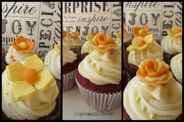 Orange yellow flower cupcakes cupcakes2delite orange yellow flower cupcakes mightylinksfo