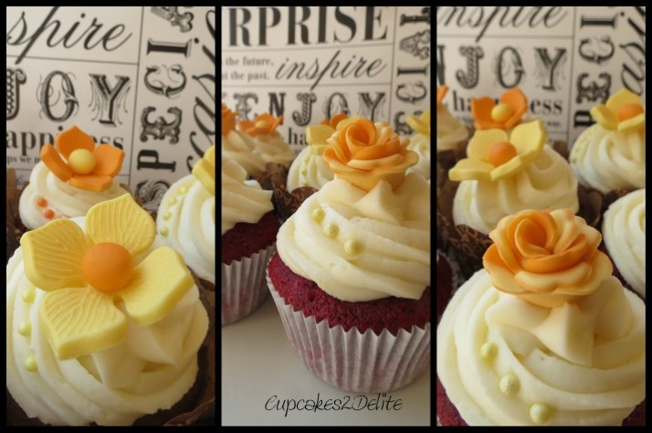 Orange & Yellow Flower Cupcakes