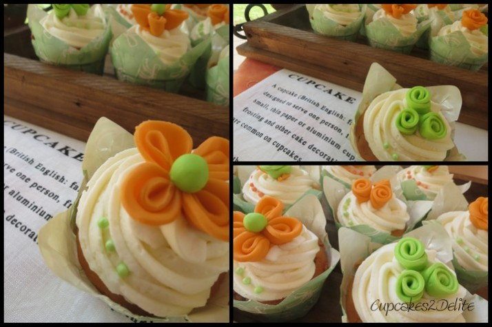 Twisted Orange & Green Flower Cupcakes