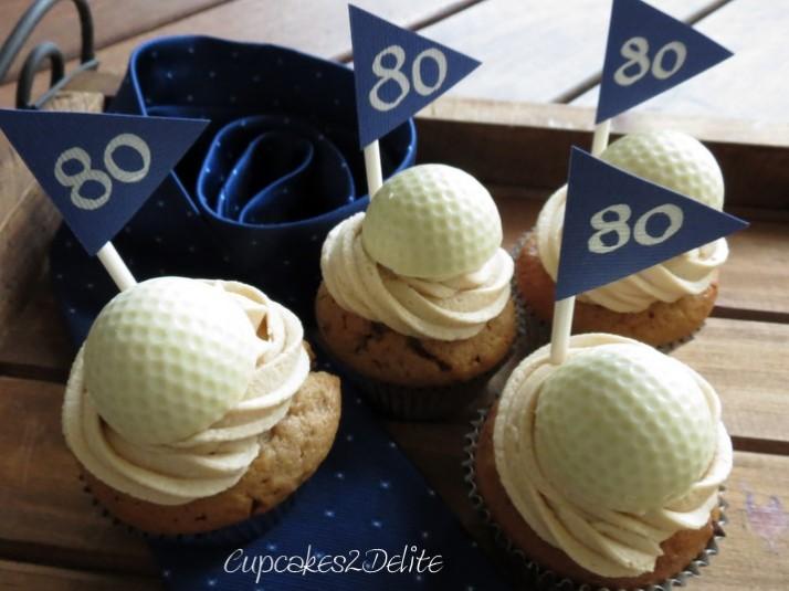 Golf Ball Cupcakes - 80th Birthday