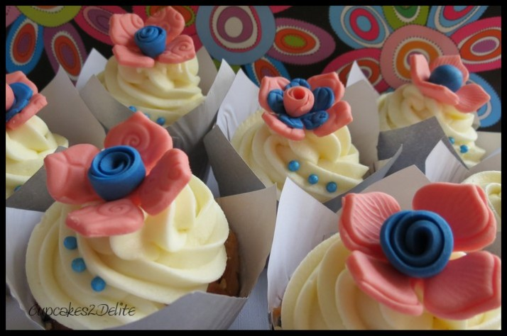 Peach and Blue Flower Cupcakes