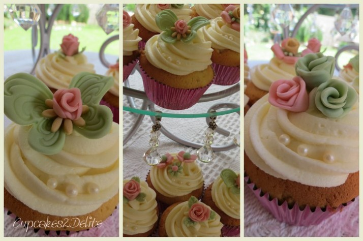 Tickled Pink & Soft Green Cupcakes
