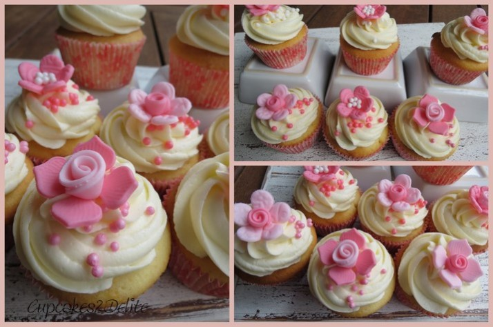 Pink & White Flower Cupcakes