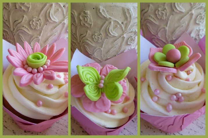 Pink Lime Green Flower Cupcakes