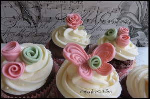 Pink & Moss Green Butterfly Cupcakes