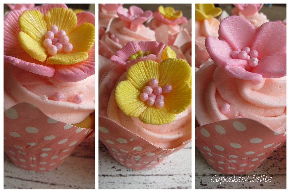 Pink Yellow Flower Cupcakes Cupcakes2delite