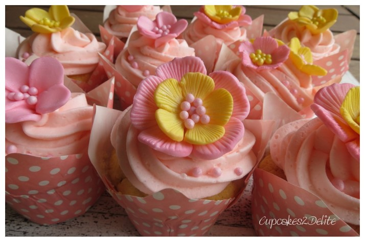 Pink & Yellow Flower Cupcakes