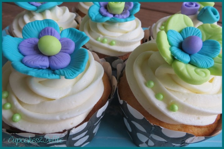 Turquoise, Lime Green & Purple Flower Cupcakes