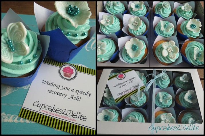 Turquoise & White Cupcakes and Tag