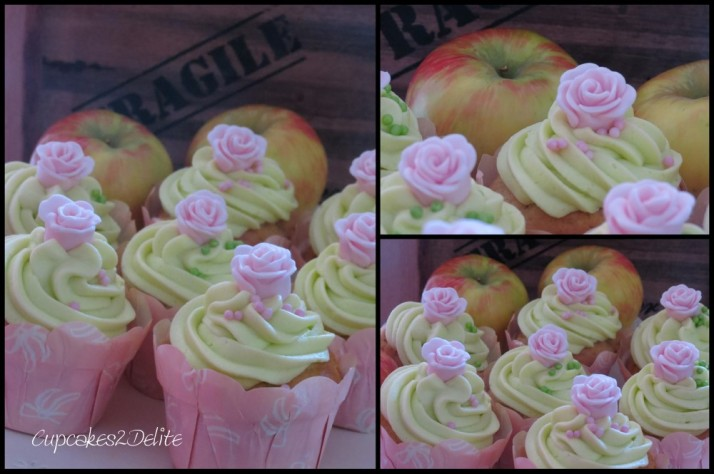 Pink Rose Apple Cupcakes