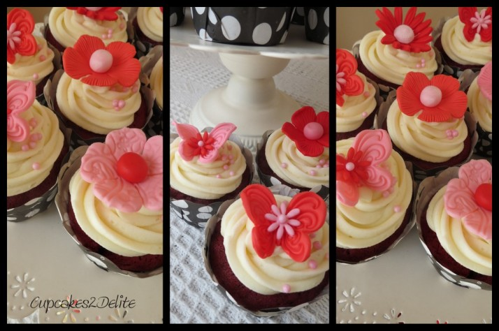 Red & Pink Flower Cupcakes