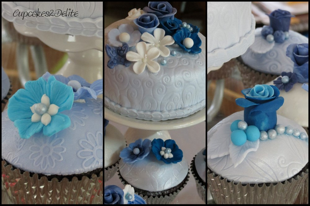 Blue Flowers Amp Roses Cupcakes Cupcakes2delite