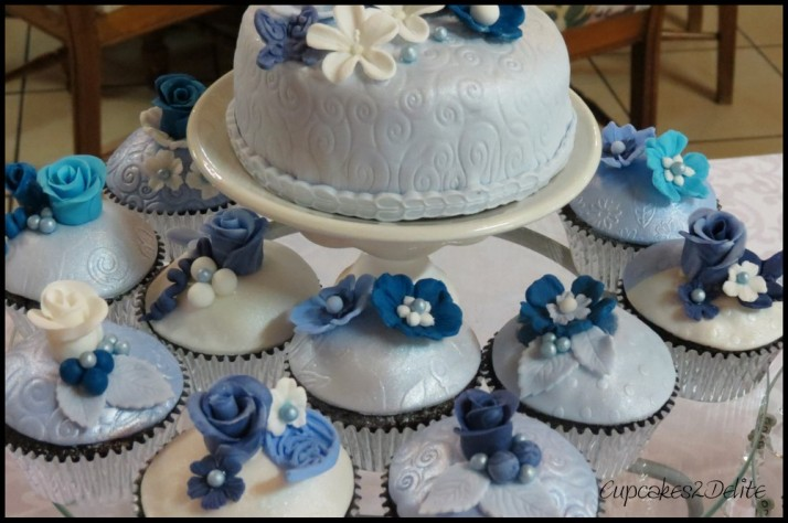 Shades of Blue 50th Cake & Cupcakes
