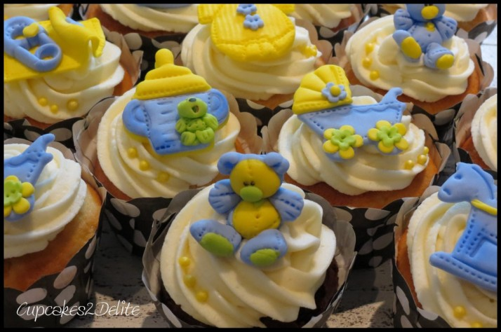 Baby Shower Cupcakes in Blue & Yellow!