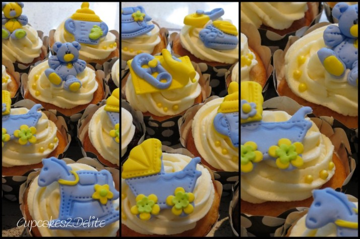 Baby Shower Cupcakes in Blue & Yellow