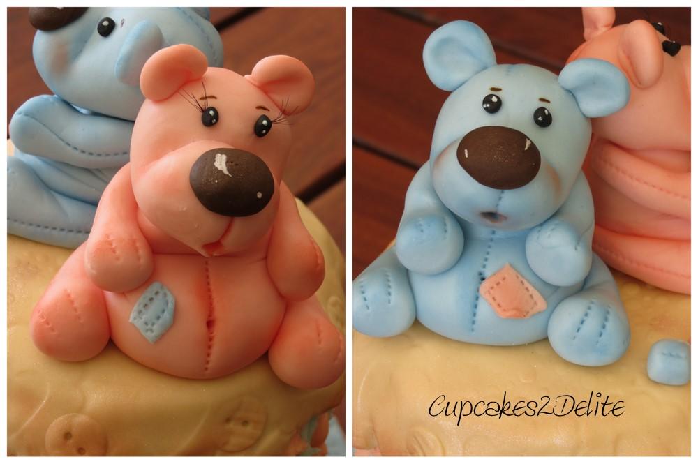 Twin Teddies On A Teddy Cake