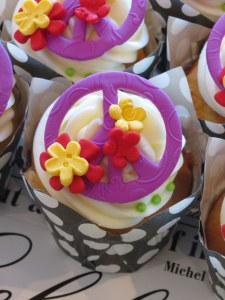 Peace Sign Cupcakes on Purple, Yellow & Red