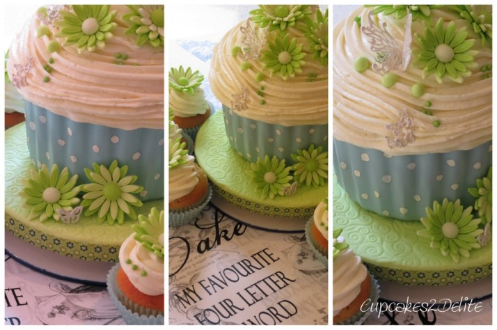 Giant Cupcake Cake in Blue & Lime