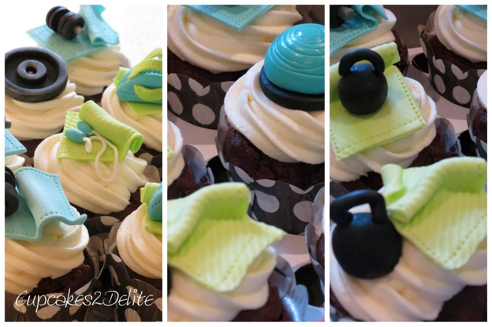Sugar paste Gym Equipment Cupcake Toppers | cupcakes2delite