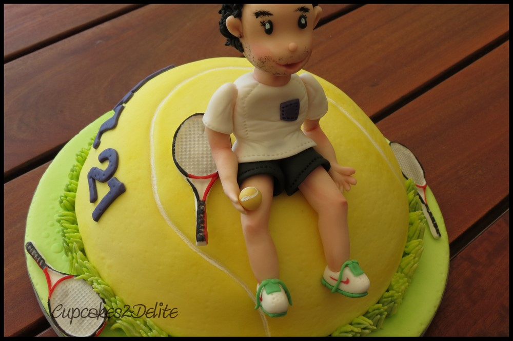 Tennis Figurine on Tennis Ball Cake